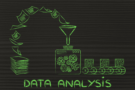 unorganized: business intelligence and data analysis: factory machines turning unorganized paper into processed data