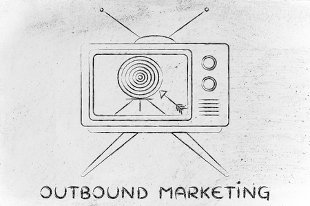 outbound: outbound marketing: old style television screen with target and arrow