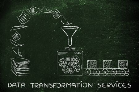 unorganized: data transformation services: factory machines turning unorganized paper into processed information