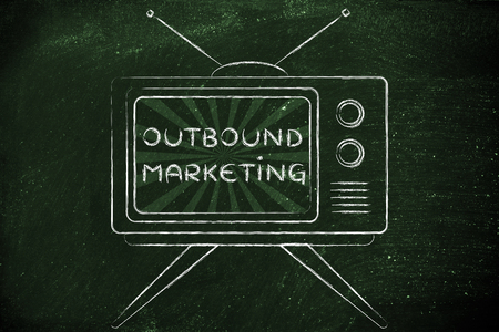 mass media: tv ads and mass media: old style television with text Outbound Marketing