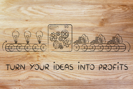 inventions: turn your ideas into profits: factory machine turning inventions into capital gain Stock Photo