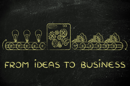 inventions: from ideas to business: factory machine turning inventions into capital gain Stock Photo