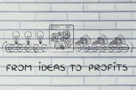 inventions: from ideas to profits: factory machine turning inventions into capital gain