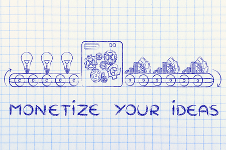 inventions: monetize your ideas: factory machine turning inventions into capital gain Stock Photo