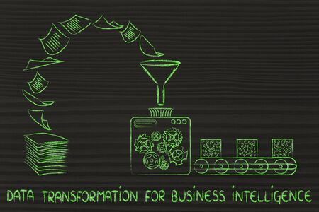unorganized: data transformation for business intelligence: factory machines turning unorganized paper into processed data Stock Photo