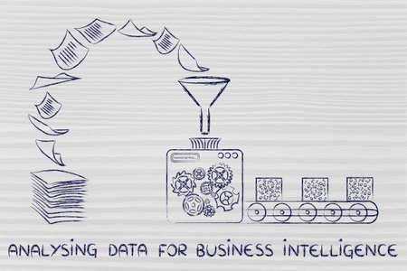 unorganized: analysing data for business intelligence:factory machines turning unorganized paper into processed data