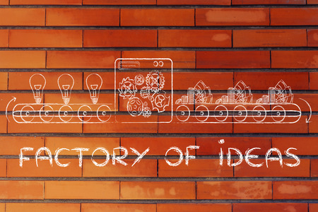 inventions: factory of ideas: factory machine turning inventions into capital gain