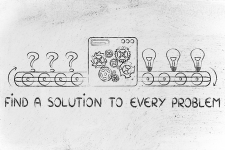 problems solutions: factory turning problems into solutions (illustration with lightbulbs and question marks) Stock Photo