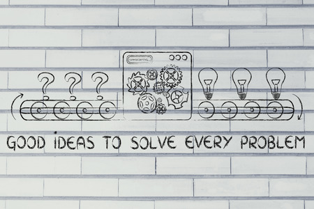 transforming: factory machine transforming every problem into good ideas