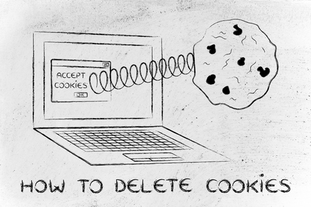 allow: how to delete cookies: pop-up message with cookie coming out of a computer Stock Photo
