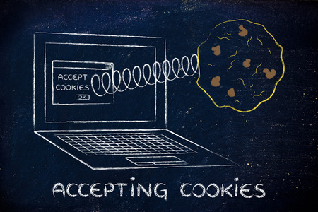 accepting: accepting cookies and browser settings: pop-up message with cookie coming out of a computer Stock Photo