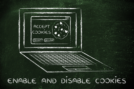 popup: enable and disable browsers settings: computer with pop-up about cookies