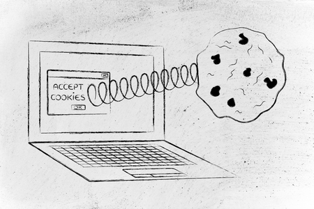 online privacy: cookies and website data: pop-up message with cookie coming out of a computer
