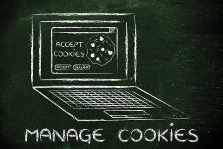 browsers: Manage cookies and browsers setting: computer with pop-up message on screen