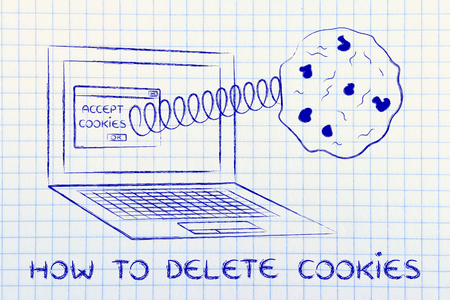 popup: how to delete cookies: pop-up message with cookie coming out of a computer Stock Photo