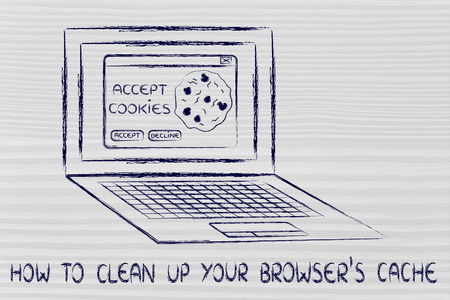 popup: how to clean up your browsers cache: computer with pop-up about cookies