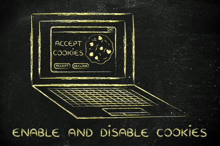 allow: enable and disable browsers settings: computer with pop-up about cookies