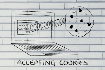 popup: accepting cookies and browser settings: pop-up message with cookie coming out of a computer Stock Photo