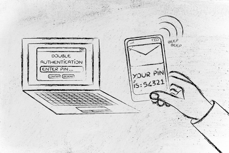 double authentication and security measures for you account: computer with login and phone text with pin Banque d'images