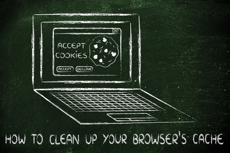 browsers: how to clean up your browsers cache: computer with pop-up about cookies