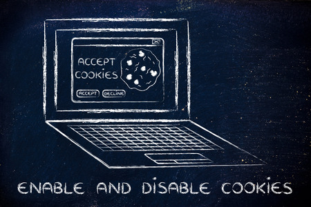 enable: enable and disable browsers settings: computer with pop-up about cookies