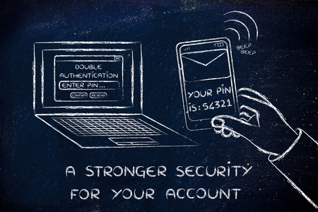 authentication: a stronger security for your account: computer and phone for double authentication Stock Photo