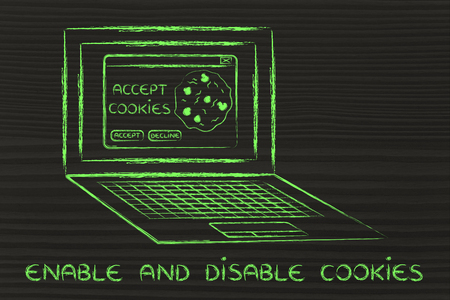 browsers: enable and disable browsers settings: computer with pop-up about cookies