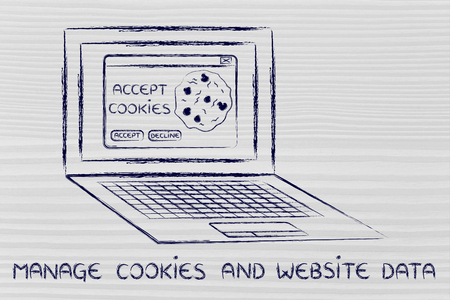 allow: manage website data: computer with pop-up about cookies Stock Photo