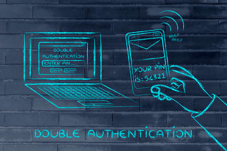 authentication: double authentication and account security: computer with login and phone text with pin
