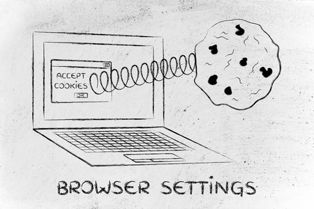 allow: cookies and browser settings: pop-up message with cookie coming out of a computer