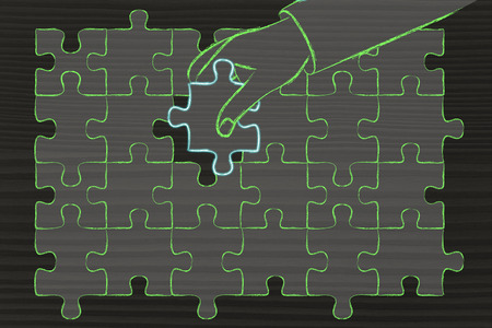 missing piece: concept of finding solutions, hand about to add the missing piece to a jigsaw puzzle Stock Photo