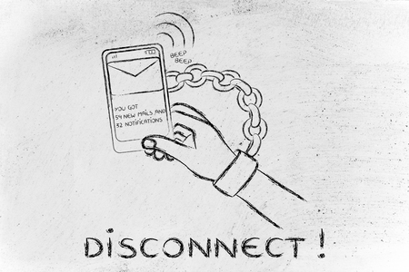 usage: hand chained to a beeping mobile phone: excess phone usage time and the need to disconnect