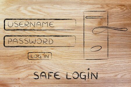 credentials: user and password dialog with door lock, concept of safe credentials