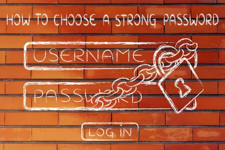 username: lock and chain around a log in dialog, how to choose a strong password