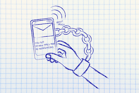 dependance: hand chained to a beeping mobile phone, concept of smartphone addiction