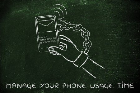 usage: hand chained to a beeping mobile phone: managing phone usage time to avoid addiction