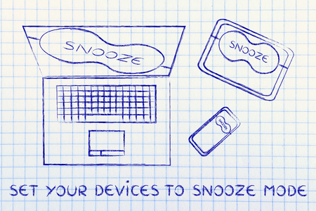 set your devices to snooze mode: smartphone, tablet and computer with funny eye mask