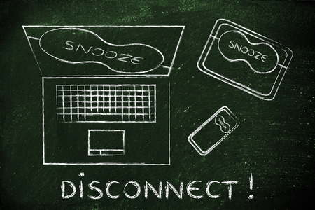 disconnect: Disconnect: set of technology devices with on snooze mode with eye mask