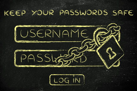 passwords: lock and chain around login dialog, concept of keeping your passwords safe Stock Photo
