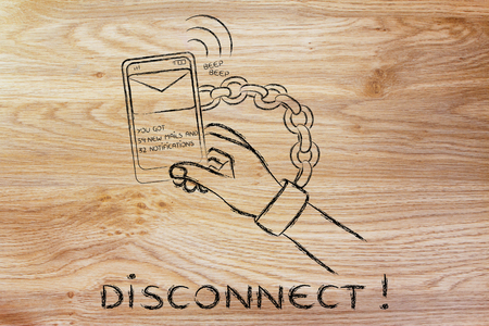 beeping: hand chained to a beeping mobile phone: excess phone usage time and the need to disconnect
