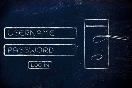 credentials: login dialog with door lock, concept of safe username and password credentials Stock Photo