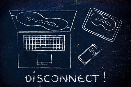 Disconnect: set of technology devices with on snooze mode with eye mask