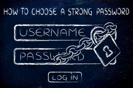lock and chain around a log in dialog, how to choose a strong password