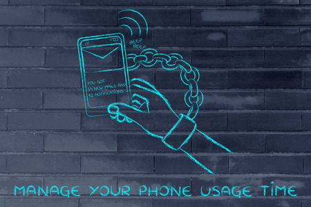 beeping: hand chained to a beeping mobile phone: managing phone usage time to avoid addiction