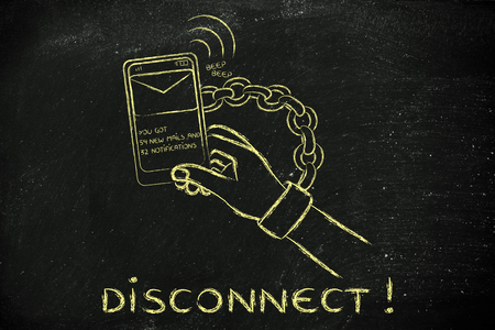 excess: hand chained to a beeping mobile phone: excess phone usage time and the need to disconnect