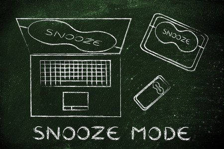eye mask: snooze mode: set of technology devices with on silent with eye mask Stock Photo