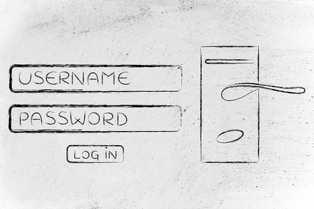 username: login dialog with door lock, concept of safe username and password credentials Stock Photo