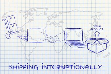 shipping internationally: online order being processed and delivered Reklamní fotografie