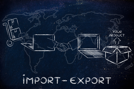 Import export: online purchase being processed and delivered
