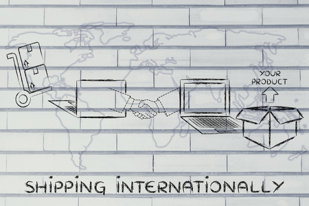 internationally: shipping internationally: online order being processed and delivered Stock Photo